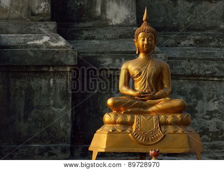 Buddha Statue In Temple Buddhism, Sculpture Art Of Asia
