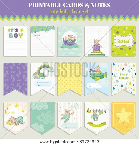 Baby Bear Card Set - for birthday, baby shower, party, design - in vector