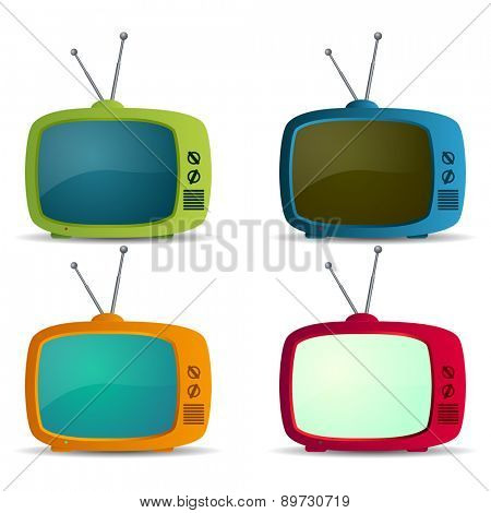 Retro TV icons set