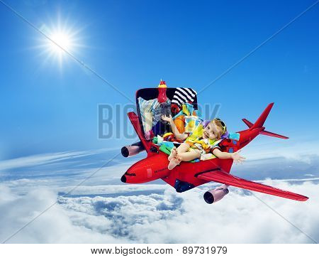 Airplane Travel, Baby Kid Packed Suitcase, Child Flying Luggage Plane