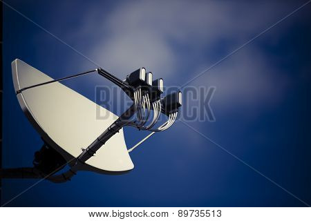 Big Satellite Dish With Multifeed Lnb