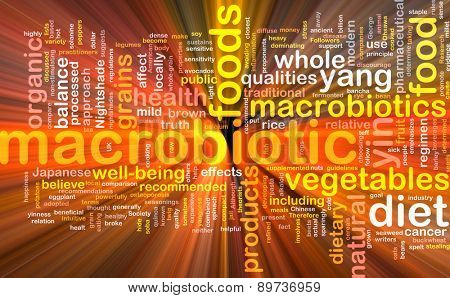 Background text pattern concept wordcloud illustration of macrobiotic diet glowing light