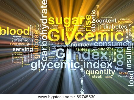 Background text pattern concept wordcloud illustration of of glycemic index glowing light