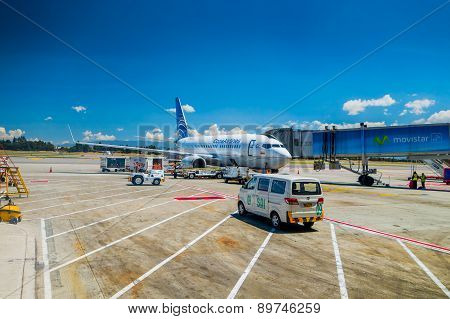 Copa airlines passenger airplane parked in terminal at El Dorado International Airport Bogota Colomb