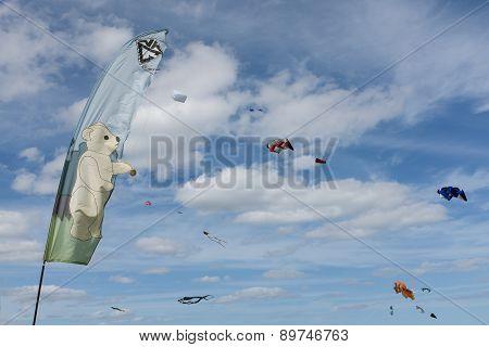 Blyth, Northumberland, Uk: 04 May 2015. Kites In Flight At Blyth Kite Festival 2015