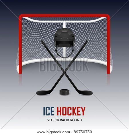 Ice Hockey Helmet, Puck, Sticks And Goal.