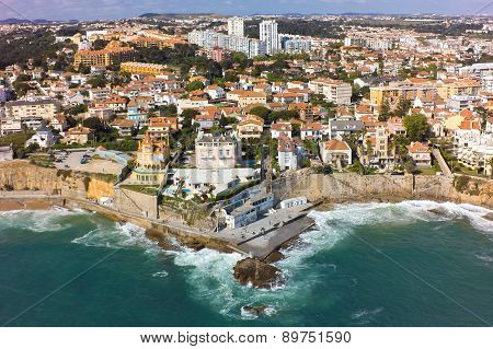 Aerial view of Estoril coastline near Lisbon in Portugal poster
