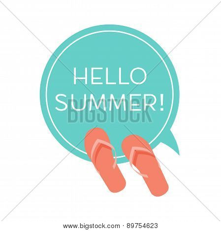 Round sticker with slippers and Say Hello To Summer