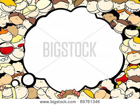 Background with cute kids and thought bubble window for your text (raster version)