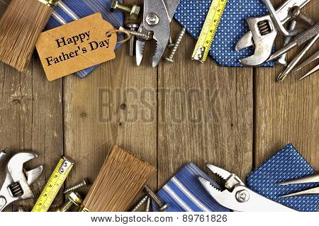 Fathers Day tag with tools and ties frame on wood