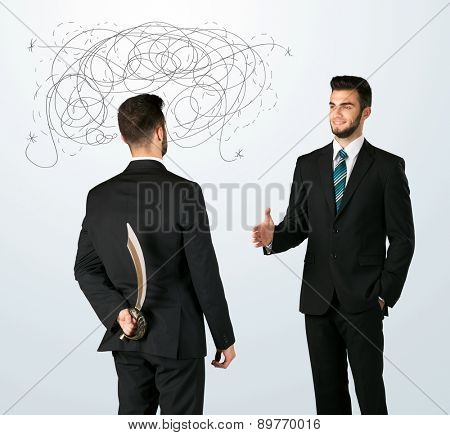 Ruthless businessman hiding a weapon and weaving plan around his head  poster