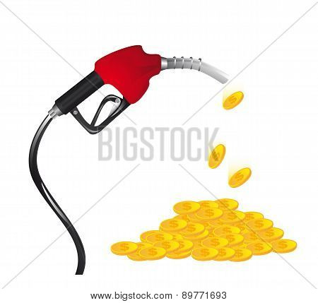 Gasoline Fuel  With Coins Over White Background Vector