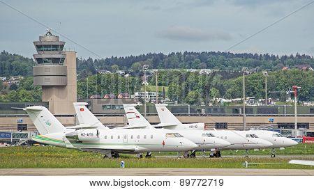 Jets  in the Zurich Kloten Airport