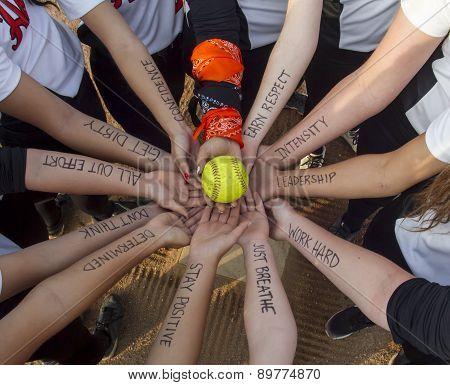 Girls Fastpitch Softball Team Inspirational Huddle