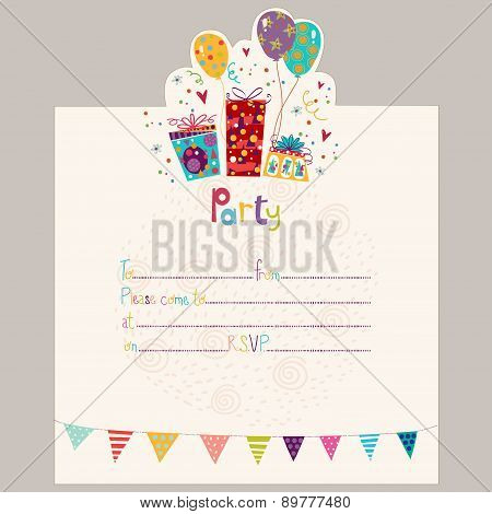 Happy Birthday Invitation.Birthday greeting card with gifts and balloons in bright colors. Sweet cartoon vector.Party invitation. poster