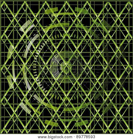 Illustration vector of green technology texture black background
