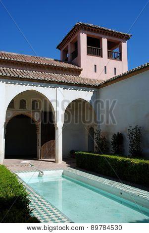 Patio in castle, Malaga.
