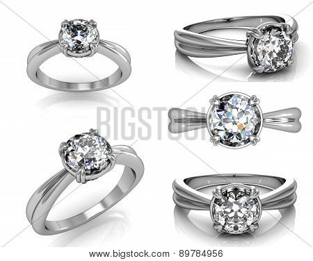 Set Of Wedding Ring With Diamond. Fashion Jewelry Background