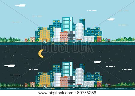 Day and night Urban Landscape City Real Estate Summer Background Flat Design Concept Icon Template V