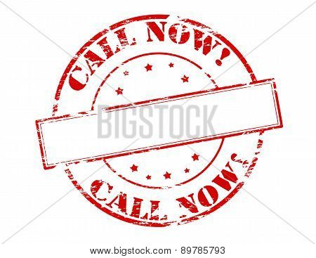 Rubber stamp with text call now inside vector illustration