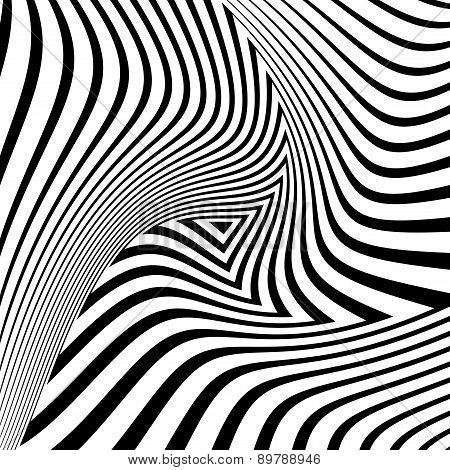 Design monochrome triangle movement illusion background. Abstract striped distortion geometric backdrop. Vector-art illustration. No gradient poster