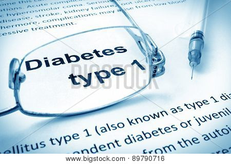 Paper with words diabetes type 1