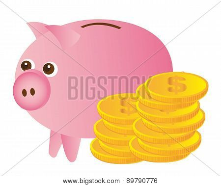 Pink Piggy With Gold Coins Over White Background Vector