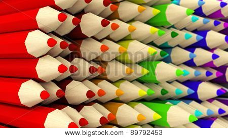 Wall Of Half-turned Colored Pencils Gradient Background