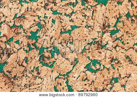Large size corkboard texture with green paint