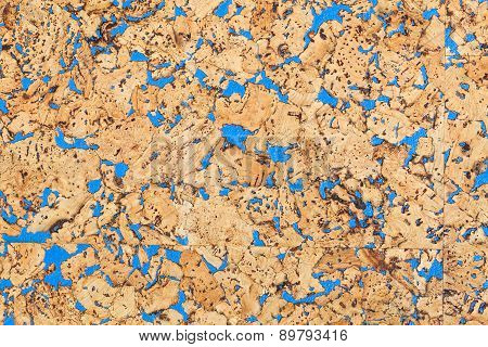 Large size corkboard texture with blue paint