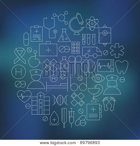 Thin Medical Line Health Care Icons Set Circle Shaped. Vector Illustration of Medical Objects over Dark Abstract Blurred Background poster