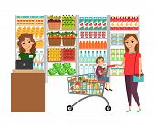 Woman shopping in grocery store. Customer market, sale supermarket, cashier and retail, vector illustration poster
