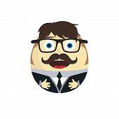 businessman daruma doll cartoon character vector art illustration poster