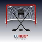 Ice hockey helmet hockey puck sticks and goal. Vector EPS10 background. poster