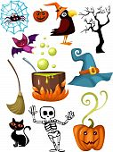 vector illustration of a cute halloween set poster