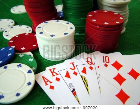 photo of playing cards and poker chips poster