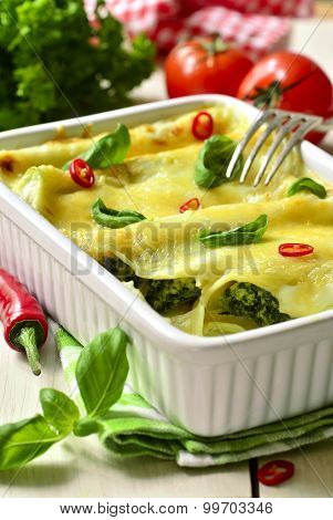 Cannelloni - Baked Pasta Stuffed With Spinach,chicken And Cheese.