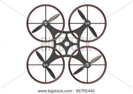 black quadcopter drone with camera isolated on white background poster