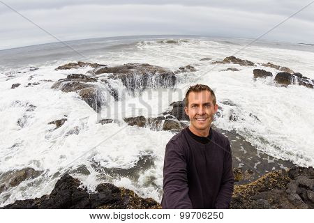 Selfie At Thor's Well