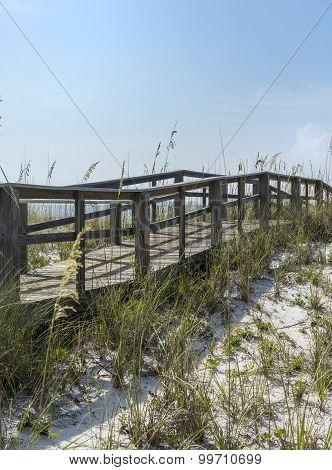 Rustic Vintage Beach Boardwalk In Florida