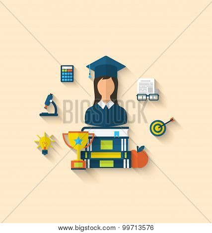 Flat icons of magister female with graduation and objects for hi