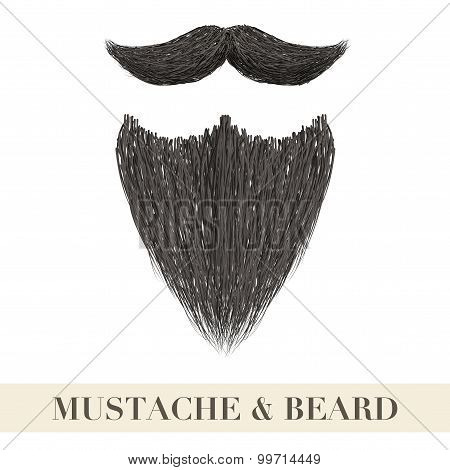 Realistic Black Beard With Curly Mustache