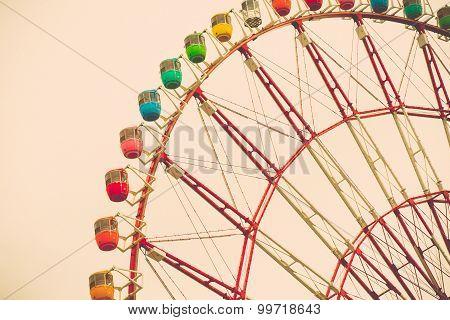 Vintage tone of Ferris Wheel, colourful ferris poster