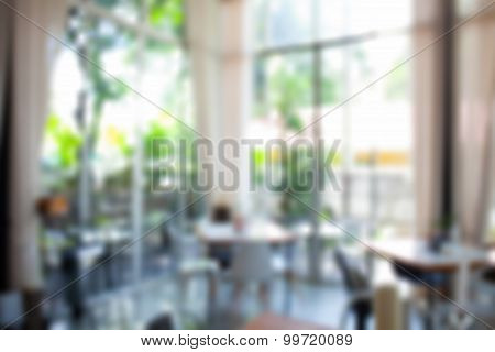 Blurred background : Coffee shop blur background with bokeh