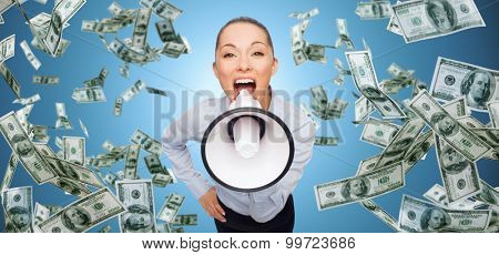 business, money, people and financial news concept - screaming businesswoman with megaphone and money rain over blue background