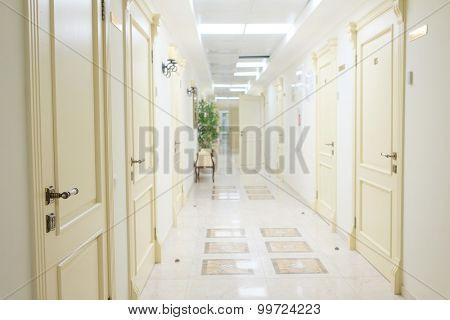 Interior of a modern hospital corridor