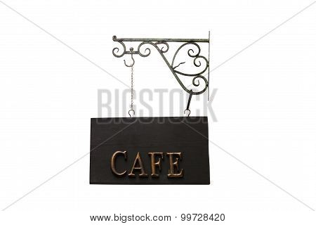 wooden cafe sign isolated on white background