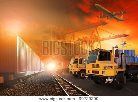Trains And Truck Of Land Logistic And Ship In Port Cargo Plane Flying Above Use For All Shipping And