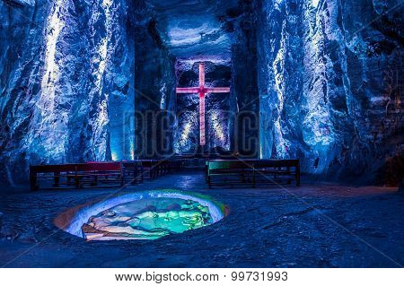 Marble and salt sculptures at underground Salt Cathedral Zipaquira built within the multicolored tun