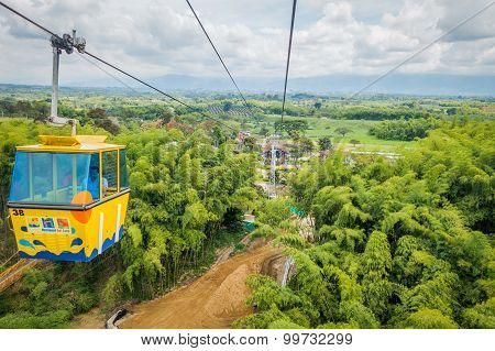 NATIONAL COFFEE PARK, COLOMBIA, Downward view of yellow cable car descending by, inside National Cof